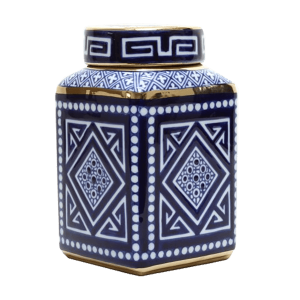 Aztec style square ginger jar with blue, white and gold detailing | Ginger jars, temple jars, canisters - Perth, WA