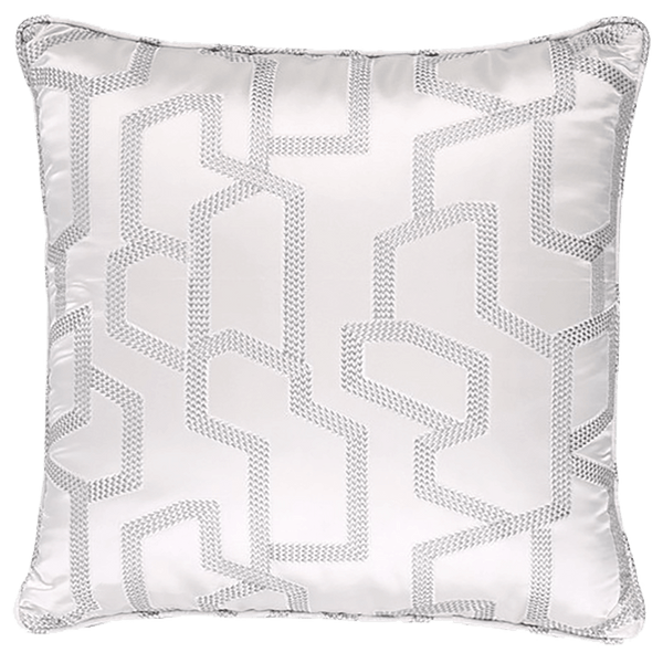 Silver/platinum satin cushion with embroidered geometric pattern | Luxury cushions - Perth WA