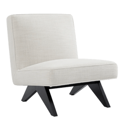 Square style slipper chair in natural/off white linen | Designer occasional chairs & furniture - Perth WA