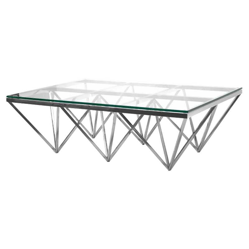 Chrome finished stainless steel coffee table with geometric shaped base and tempered glass top | Luxury furniture Perth WA