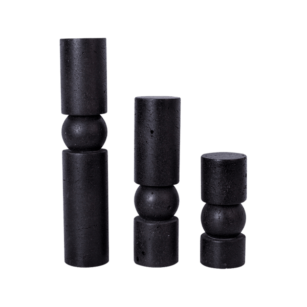 Black stone Cylindrical candle holder | Candle accessories & hurricanes - Perth WA
