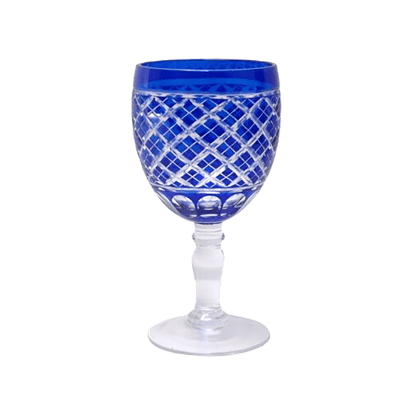 Cobalt blue wine glass with diamond etching | Glassware, barware - Perth, WA