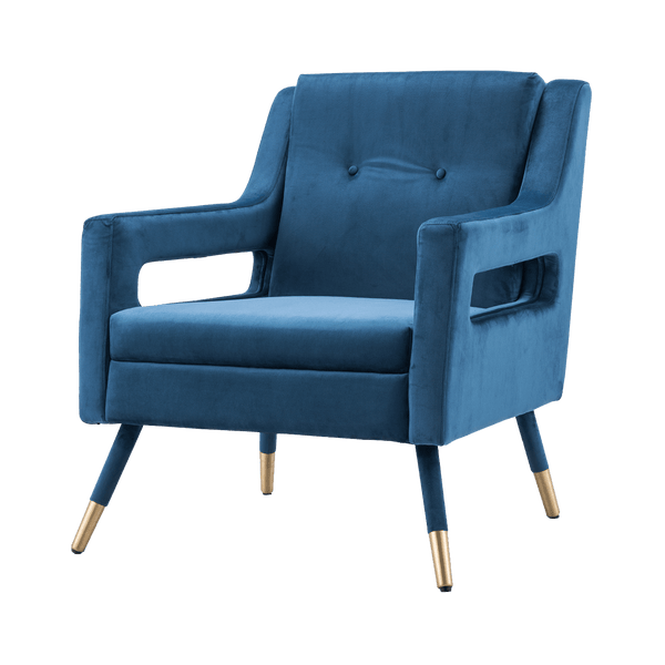 Square blue velvet armchair | Seating & occasional chairs - Perth WA