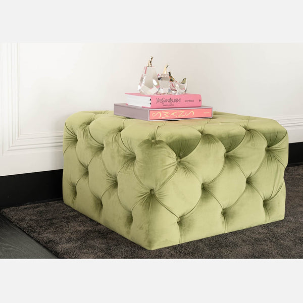 Green square velvet ottoman/stool featuring deep tufted button detailing - Perth WA