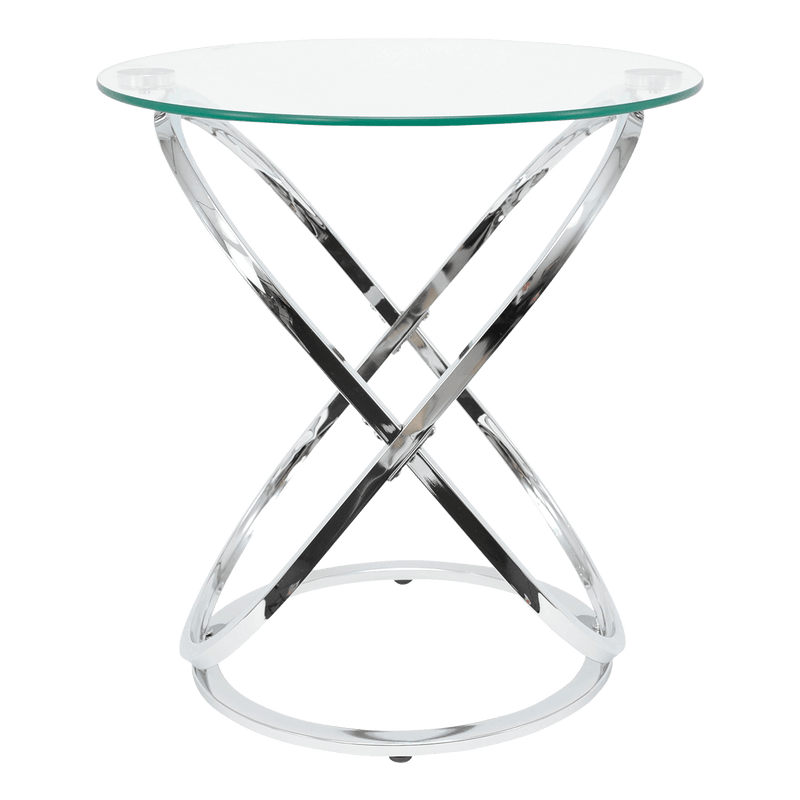 Round shiny chrome-plated silver side table with glass top | Luxury side tables and coffee tables - Perth, WA
