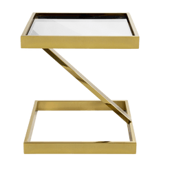 Manhattan Side Table, gold & clear glass | Darcy & Duke, Perth WA