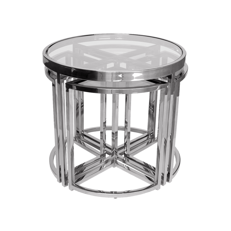 Perugia Nesting Side Tables, Silver & Clear Glass | Darcy & Duke, Perth WA