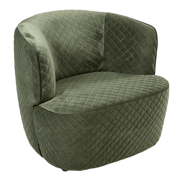 Quilted velvet arm chair in moss green | Axel Chair Perth WA | Luxury seating & furniture