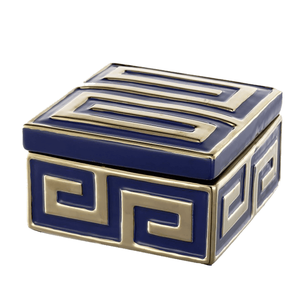 Navy blue square ceramic jewellery box with gold embossed Greek key pattern on the lid and sides. Perth, WA.