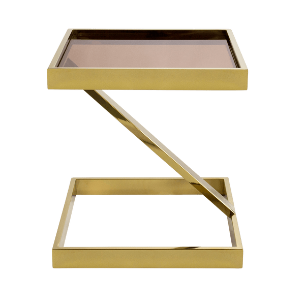 Manhattan Side Table, Gold & tinted glass | Darcy & Duke, Perth WA
