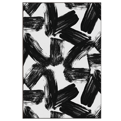 Abstract black paint strokes on white canvas in a black timber frame | Home wares | Perth WA.