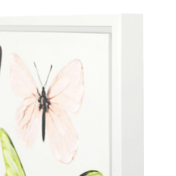 Handpainted butterflies canvas in white frame | Artworks & Canvases Perth WA