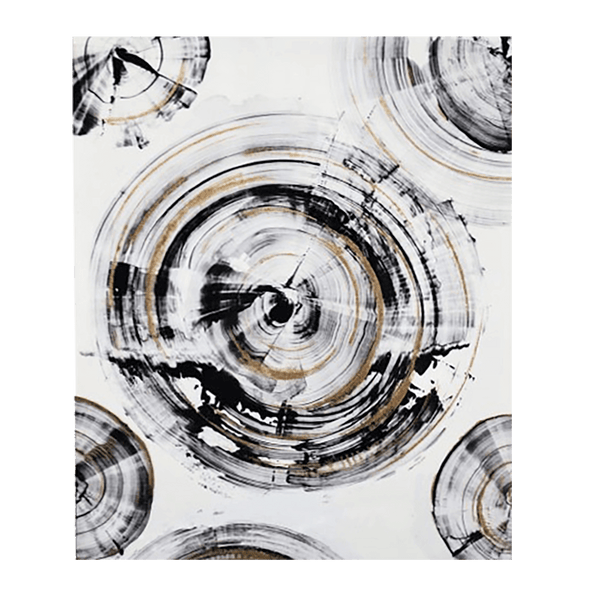 Gloss oil painting - black and gold circles with an immaculate high gloss finish 90x60cm | Art and Home accessories | Perth, WA