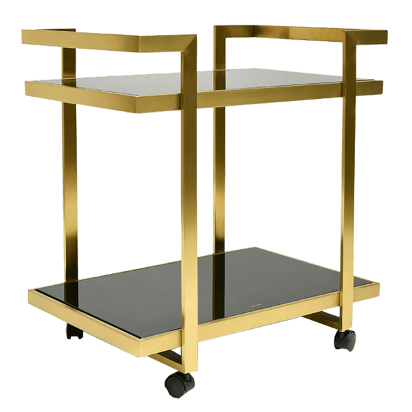 Vintage industrial style gold / black glass bar cart | Bar & Drinks Trolleys, Perth WA