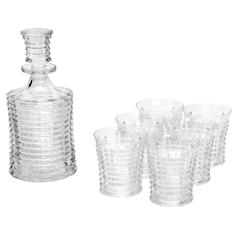 ribbed glass decanter set includes 6 tumblers | Antique barware - Perth WA