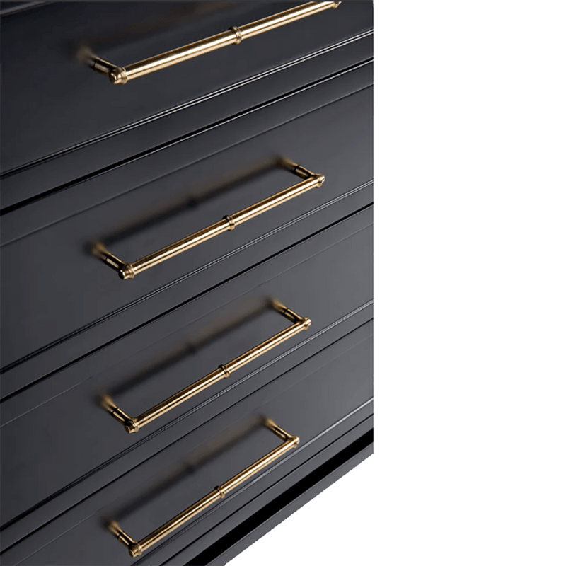 Black 8 drawer chest featuring gold handles | Luxury bedroom furniture & storage - Perth WA