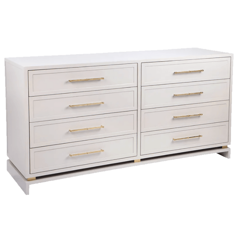 White/Grey 8 drawer chest featuring gold handles | Luxury bedroom furniture & storage - Perth WA