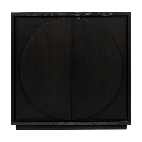 Black oak veneer cabinet with 6 interior shelves & halfmoon handles | Designer cabinets & display units - Perth WA