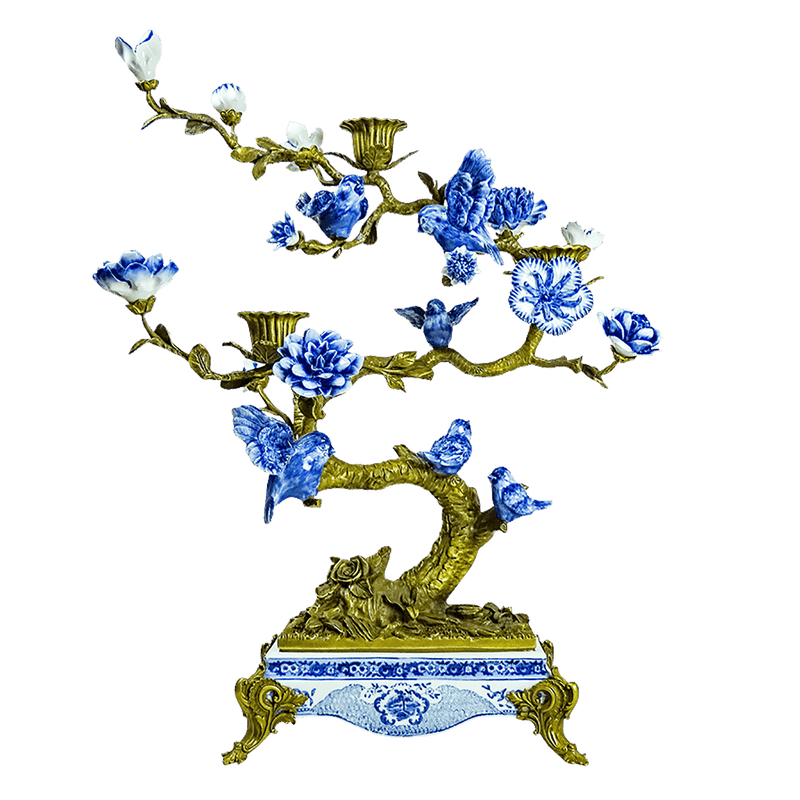 Oriental bird & tree candle holder | Decorative table accessories - Perth WA
