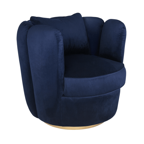 Tulip Swivel Chair - Navy | Darcy & Duke furniture - Perth WA
