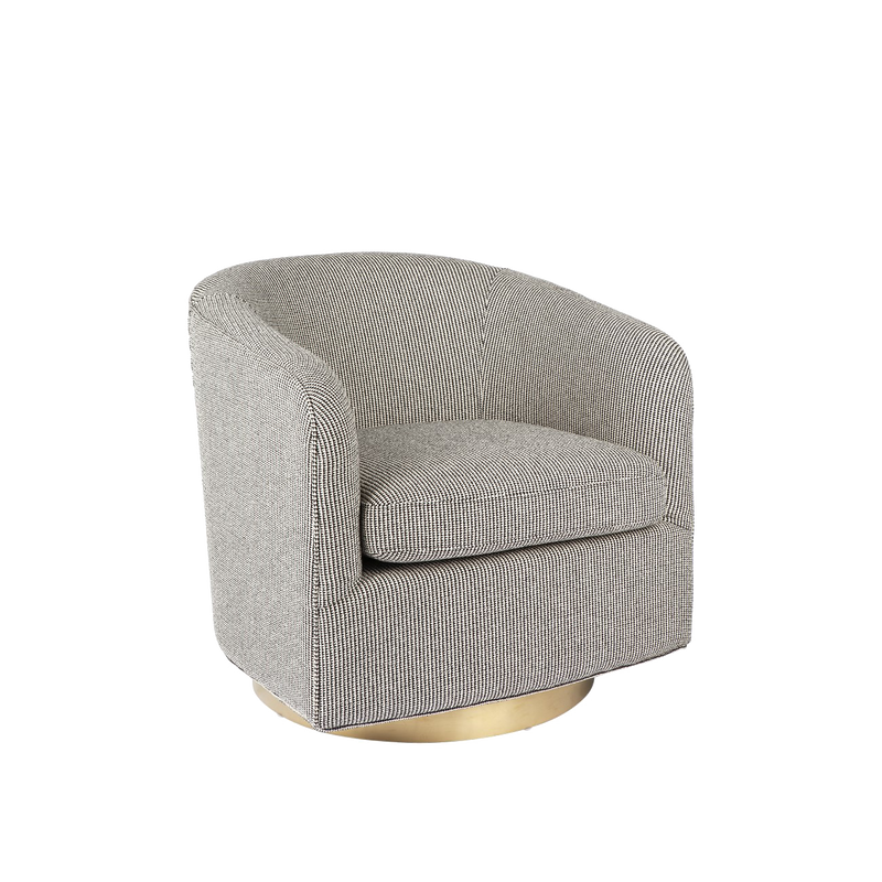 Dominik Swivel Armchair - Black and White