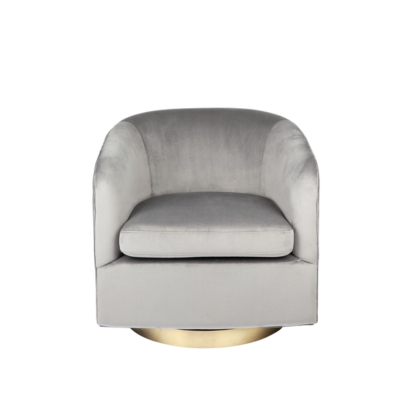 Dominik Swivel Velvet Armchair - Charcoal Grey