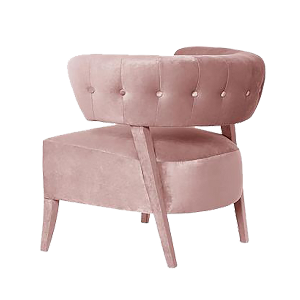 Aileen Velvet Occasional Chair - Pale Pink