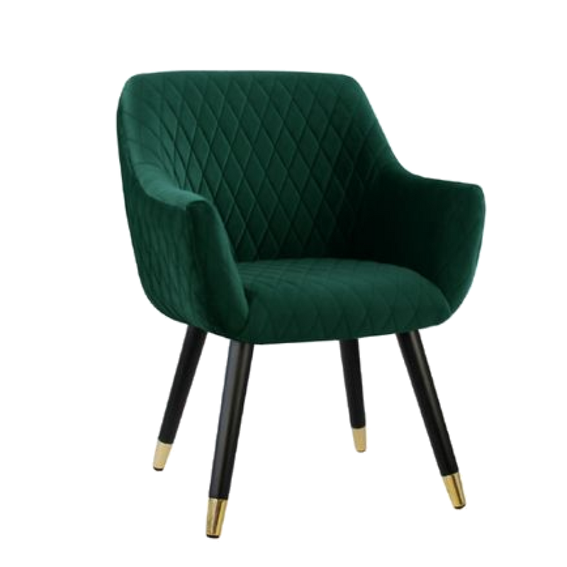 Townhouse Quilted Velvet Chair - Emerald