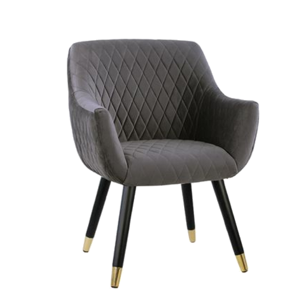 Townhouse Quilted Velvet Chair - Dark Grey