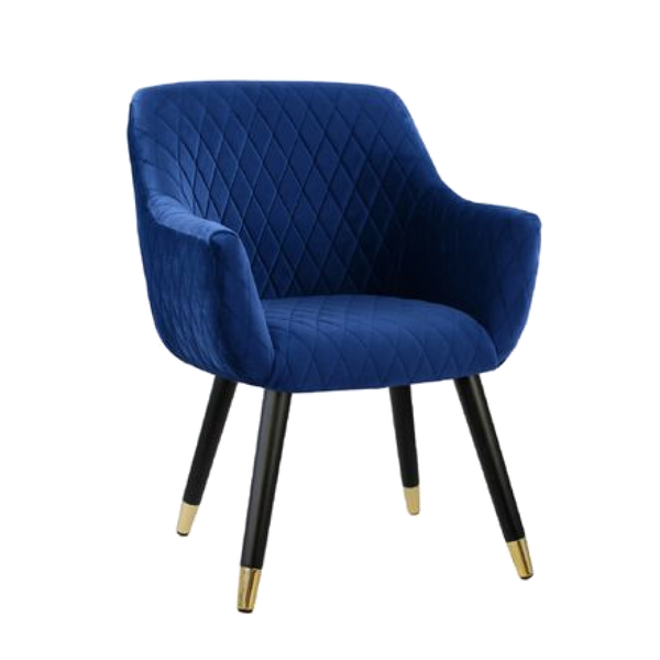 Townhouse Quilted Velvet Chair - Royal Blue