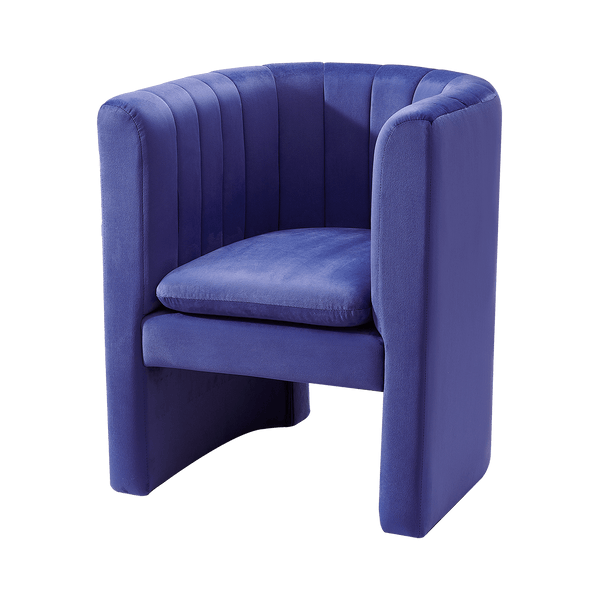 Blue velvet tub chair designed by Natalie | :