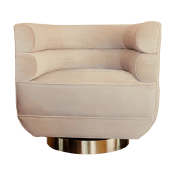 Gold/Taupe Curved Velvet Swivel Tub Chair | Luxury seating & armchairs Perth WA