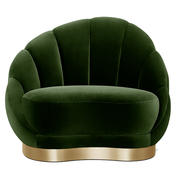 Olympia Cotton Velvet Chair - Deep Emerald