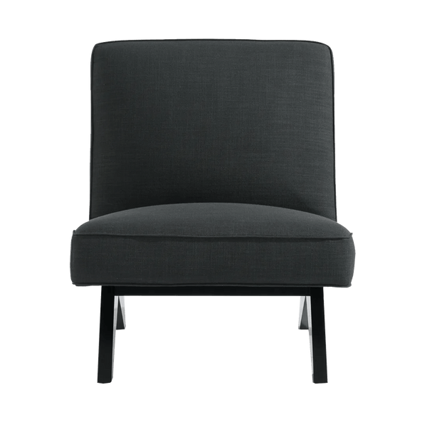 Square style slipper chair in dark grey/charcoal linen | Designer occasional chairs & furniture - Perth WA