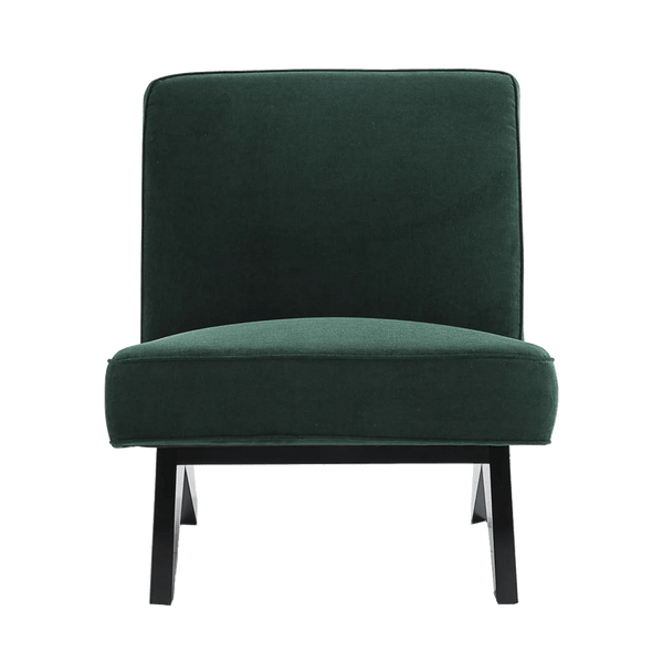 Square style slipper chair in dark forrest green linen | Designer occasional chairs & furniture - Perth WA