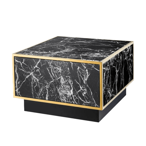 Square black marble coffee table | Statement coffee & side table Perth WA