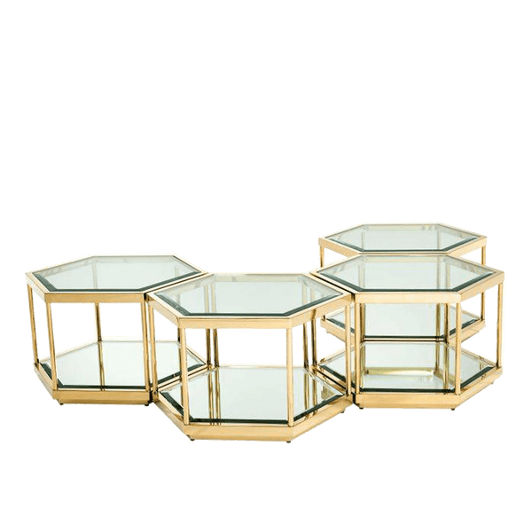 Set of 4 hexagon shaped gold side tables | Luxury coffee table Perth WA