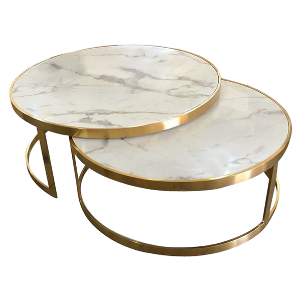 Gold And White Marble Coffee Table.Saturn Nested Coffee Table Marble Top With Gold Frame