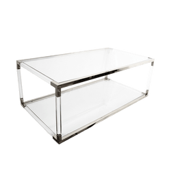 Acrylic coffee table with a bottom shelf & silver/chrome edges and joins | Coffee Tables + Side Tables Perth WA