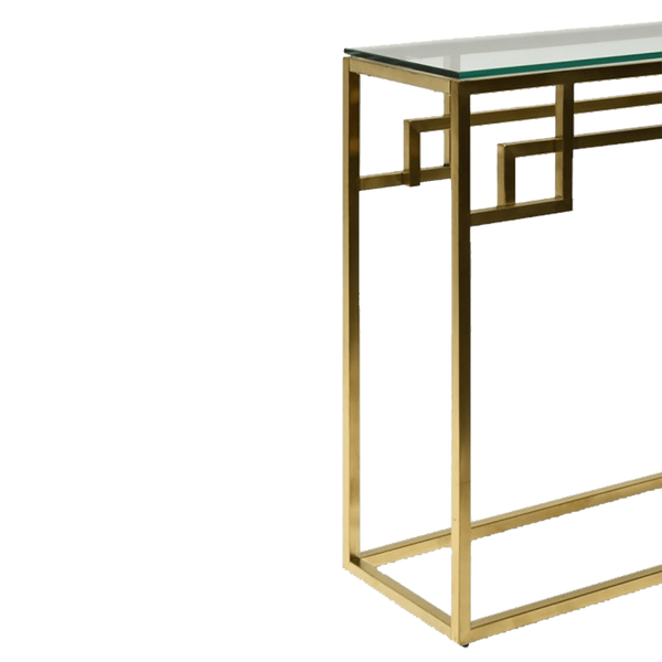 Brushed gold art deco inspired console table | Luxury consoles and side tables - Perth WA