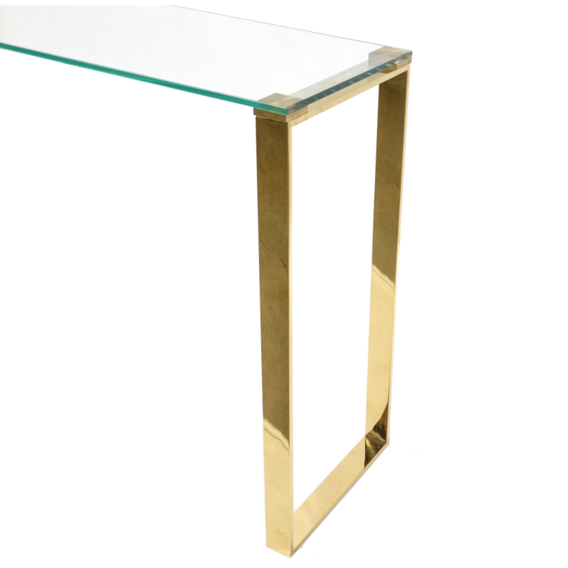 Elena Gold Console with Glass Top