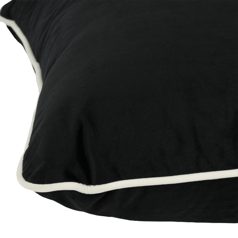Darcy & Duke, Coco Piped Cushion, Black with white piping trim, 55x55cm, Perth WA