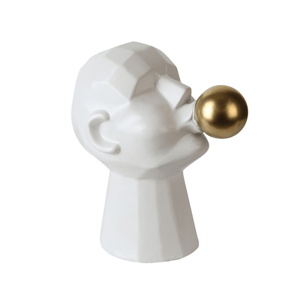 Sculpture of a persons head blowing a gold bubble, white | Statues & art - Perth WA