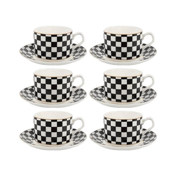Black and white checked tea cup & saucer set | Luxury home decor Perth WA