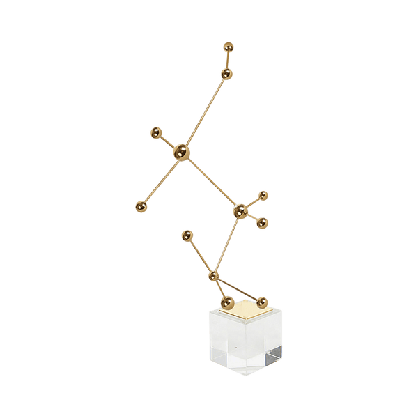 Dot & Line Ornament  with Base - Gold