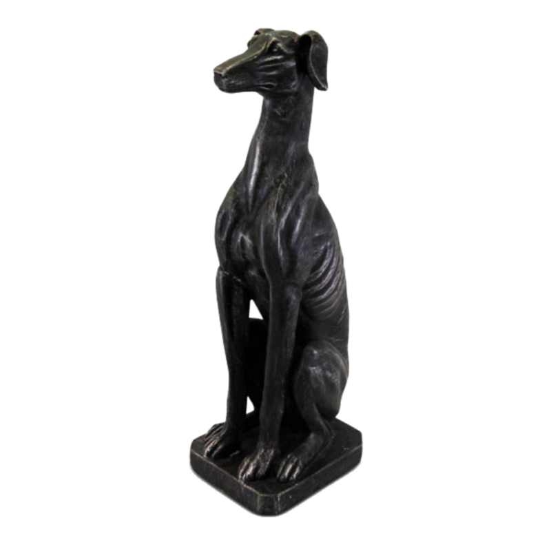 Sitting greyhound statue, sitting atop a square base | Animal home decor & statues - Perth WA