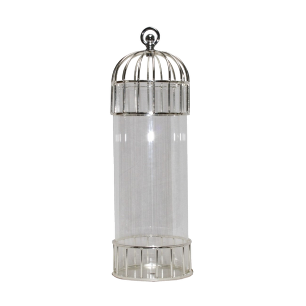 Birdcage Candle Holder - Silver and Glass
