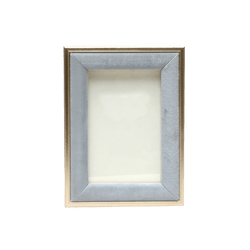 Pewter/blue/grey velvet photo frame with gold edging 13x18cm | Photo frames & home decor -Perth WA