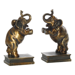 Bronzed Elephant Bookends
