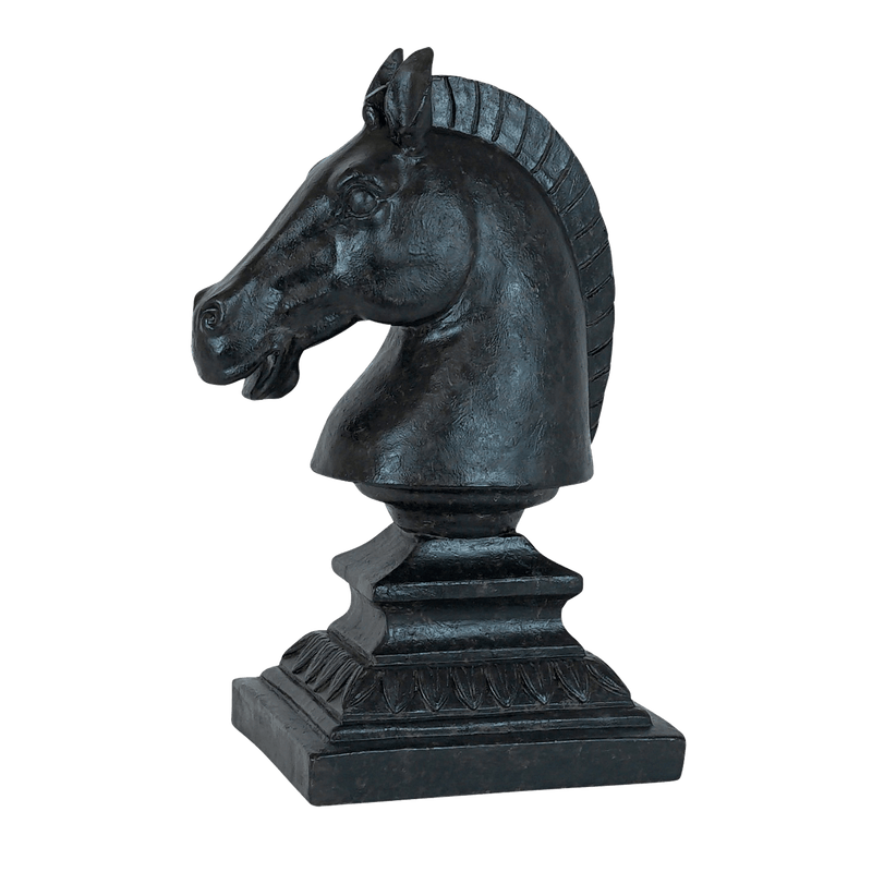 Beautifully designed, charcoal black horse bust on a plinth | Animal statues - Perth WA
